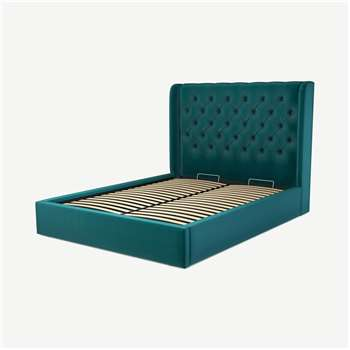 Custom MADE Romare King size Bed with Ottoman, Tuscan Teal  Velvet (H134.5 x W165 x D219cm)