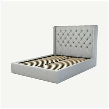 Custom MADE Romare King size Bed  with Ottoman, Wolf Grey Wool (H134.5 x W165 x D219cm)