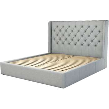 Custom MADE Romare Super King size Bed with Drawers, Wolf Grey Wool (H134.5 x W219 x D195cm)