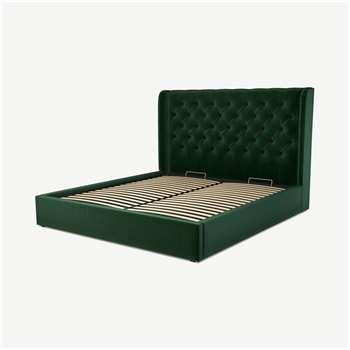 Custom MADE Romare Super King size Bed with Ottoman, Bottle Green Velvet (H134.5 x W195 x D219cm)