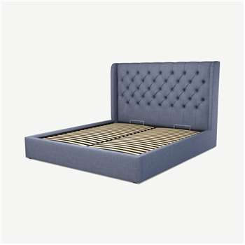Custom MADE Romare Super King size Bed with Ottoman, Denim  Cotton (H134.5 x W195 x D219cm)