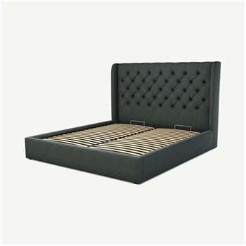 Custom MADE Romare Super King size Bed with Ottoman, Etna Grey Wool (H134.5 x W195 x D219cm)