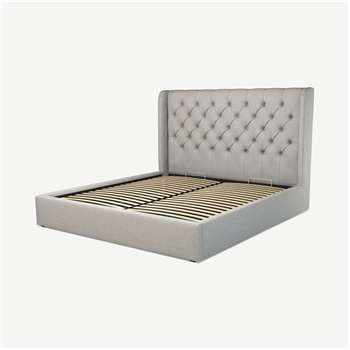 Custom MADE Romare Super King size Bed with Ottoman, Ghost Grey Cotton (H134.5 x W195 x D219cm)