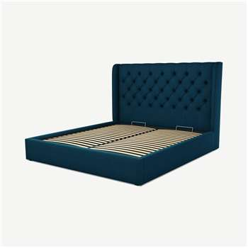 Custom MADE Romare Super King size Bed with Ottoman, Navy Wool (H134.5 x W195 x D219cm)