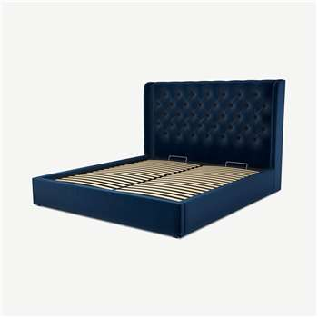 Custom MADE Romare Super King size Bed with Ottoman, Regal Blue Velvet (H134.5 x W195 x D219cm)