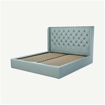 Custom MADE Romare Super King size Bed with Ottoman, Sea Green Cotton (H134.5 x W195 x D219cm)