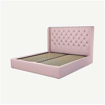 Custom MADE Romare Super King size Bed with Ottoman, Tea Rose Pink Cotton (H134.5 x W195 x D219cm)