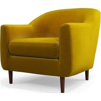 Custom MADE Tubby Armchair, Saffron Yellow Velvet with Dark Wood Legs (H73 x W80 x D76cm)