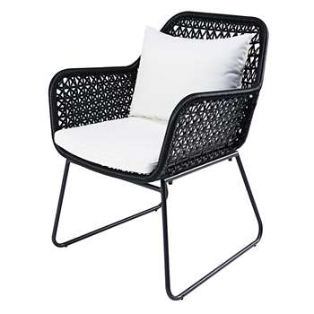 CUZCO Garden armchair in black resin wicker with white cushions (83 x 60cm)