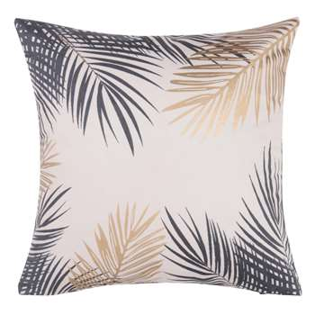 CYCAS Beige Cotton Cushion Cover with Foliage Print (40 x 40cm)