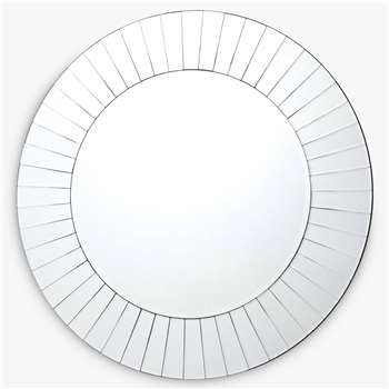 Där Lahaina Round Sundial Glass Wall Mirror, Clear (Diameter 80cm)