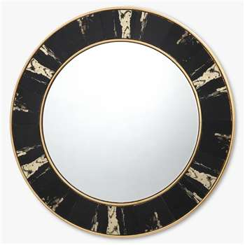 Där Sidone Round Wall Mirror, Black/Gold (Diameter 80cm)