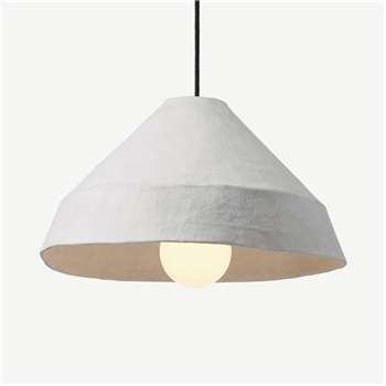 Dahlia Lamp Shade, White Paper Mache (H23 x W40 x D40cm)
