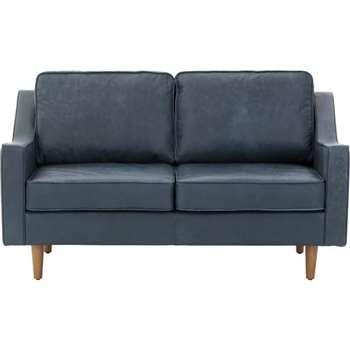 Dallas 2 Seater Sofa, Charm Midnight Premium Leather, Blue (83 x 146cm)