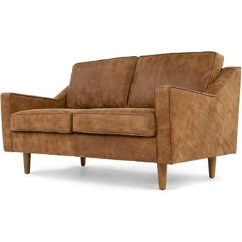 Dallas 2 Seater Sofa, Outback Tan Premium Leather (77 x 150cm)