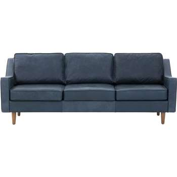Dallas 3 Seater Sofa, Charm Midnight Premium Leather, Blue (83 x 211cm)