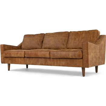 Dallas 3 Seater Sofa, Outback Tan Premium Leather (77 x 212cm)