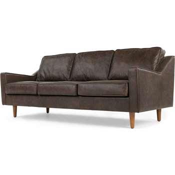 Dallas 3 Seater Sofa, Oxford Brown Premium Leather (77 x 212cm)