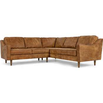 Dallas Corner Sofa, Outback Tan Premium Leather (77 x 226cm)