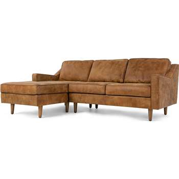Dallas Left Hand Facing Chaise End Sofa, Outback Tan Premium Leather (77 x 226cm)
