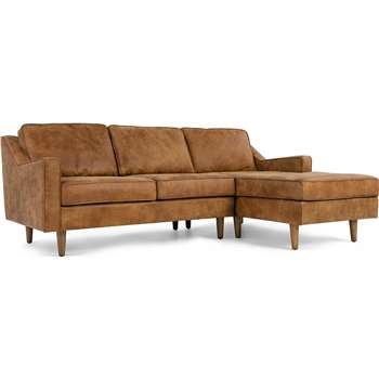 Dallas Right Hand Facing Chaise End Sofa, Outback Tan Premium Leather (77 x 226cm)