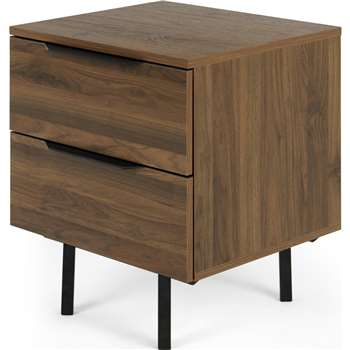 Damien Bedside Table, Walnut & Black (H61 x W52 x D45cm)