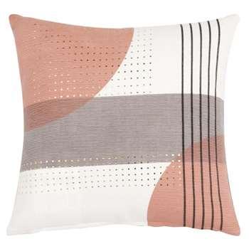 DANALYNE - Ecru, Pink and Grey Printed Cotton Cushion Cover (H40 x W40cm)