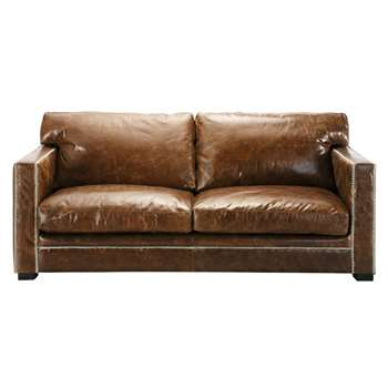 DANDY 3/4 seater leather sofa in brown (88 x 192cm)