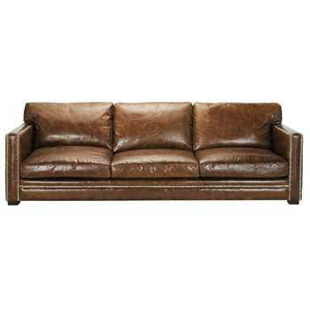 DANDY 4/5 seater leather sofa in brown (88 x 263cm)