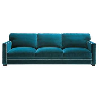 DANDY 4/5 seater velvet sofa in blue (88 x 263cm)