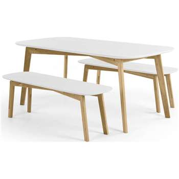 Dante Dining Table and Bench Set, Oak and White (190 x 75cm)