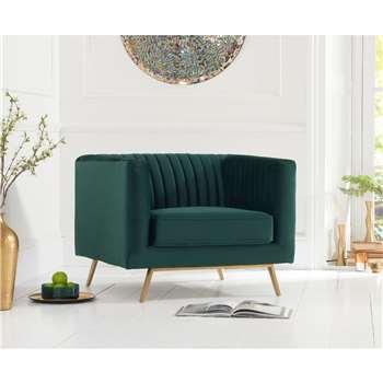 Danube Green Velvet Armchair (H71 x W90 x D84cm)