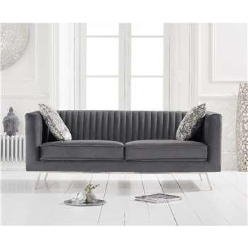 Danube Grey Velvet 2 Seater Sofa (H68 x W172 x D84cm)