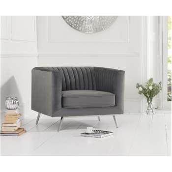 Danube Grey Velvet Armchair (H71 x W90 x D84cm)
