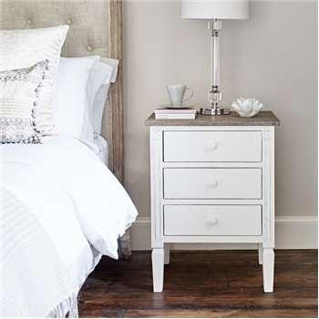 Daphne Bedside Table - White (H66 x W50 x D40cm)