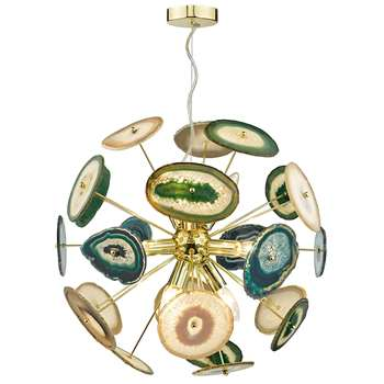 Dar Achates 9 Light Ceiling Light Gold (H120 x W52 x D52cm)