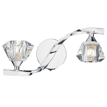 Dar Ancona 2 Light Wall Light Polished Chrome (H14 x W31 x D13cm)