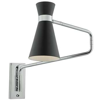 Dar Ashworth Wall Light Black (H21 x W11cm)
