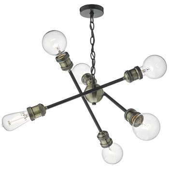 Dar Brigade 6 Light Ceiling Light Antique Brass (H130 x W56 x D56cm)