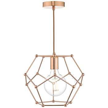 Dar Coen Pendant Ceiling Light Copper (H160 x W31 x D31cm)