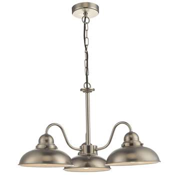 Dar Dynamo 3 Light Ceiling Light Antique Chrome (H120 x W56 x D56cm)