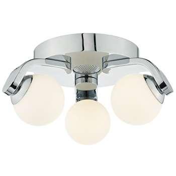 Dar Iker 3 Light LED Flush Ceiling Light Polished Chrome (H170 x W38 x D38cm)