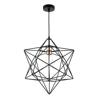 Dar Luanda Pendant Ceiling Light Black/Copper (Height 155cm)
