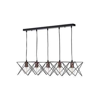 Dar Midi 5 Light Bar Pendant Black (H128 x W93 x D19cm)