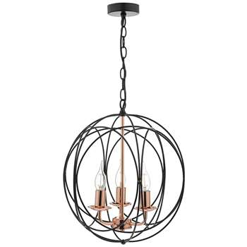 Dar Phoenix 3 Light Ceiling Light Black/Copper (H150 x W38 x D38cm)