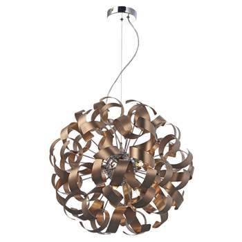 Dar Rawley 9 Light Ceiling Pendant Copper (H150 x W65 x D65cm)