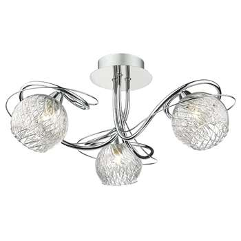 Dar Rehan 3 Light Ceiling Light Polished Chrome (H21 x W43 x D43cm)