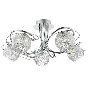Dar Rehan 5 Light Ceiling Light Polished Chrome (H22 x W21 x D21cm)