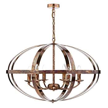 Dar Symbol 6 Light Ceiling Light Copper (H160 x W75 x D75cm)