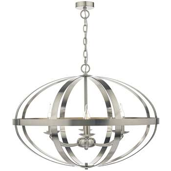 Dar Symbol 6 Light Ceiling Light Satin Chrome (H160 x W75 x D75cm)
